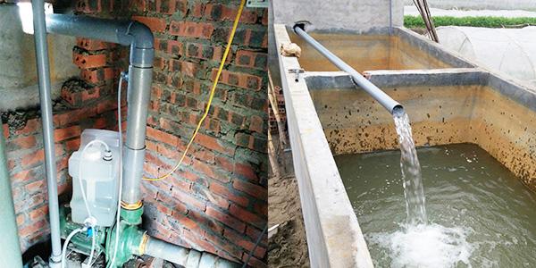 浄水装置を取り付けた農業用水